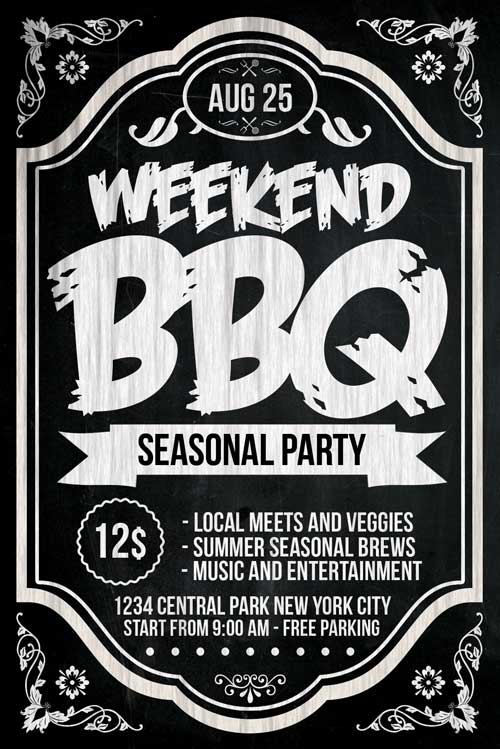 Chalkboard Bbq Flyer Template Psd Download  Xtremeflyers