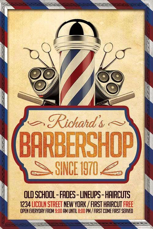 Barber Shop Flyer Template  Xtremeflyers
