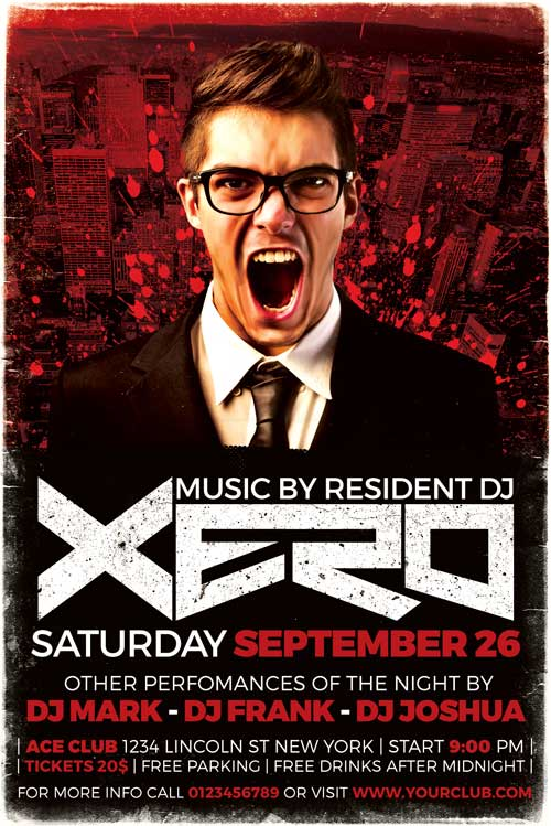 Xero DJ Flyer Template PSD