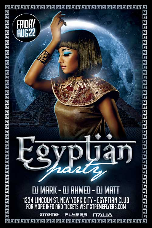 egyptian party flyer template psd download