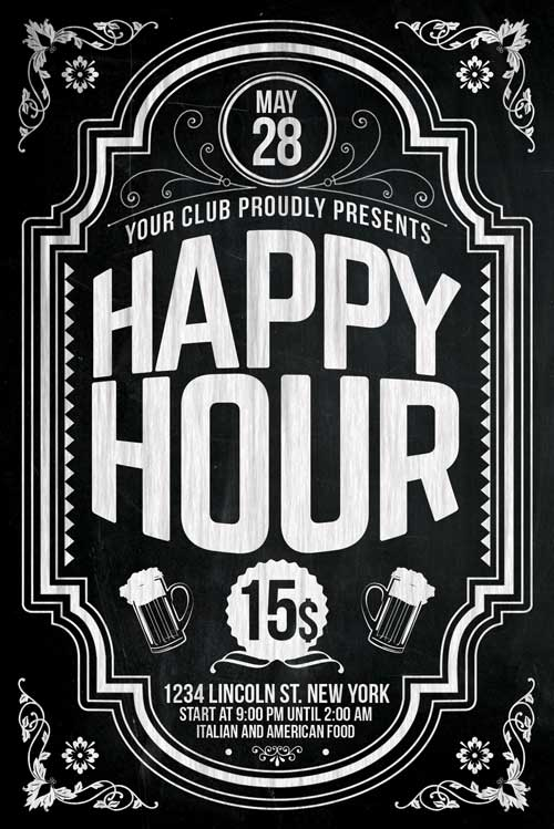Happy Hour Flyer Template Psd Download  Xtremeflyers