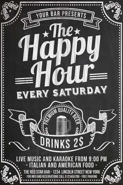 chalkboard happy hour flyer template psd download xtremeflyers. Black Bedroom Furniture Sets. Home Design Ideas