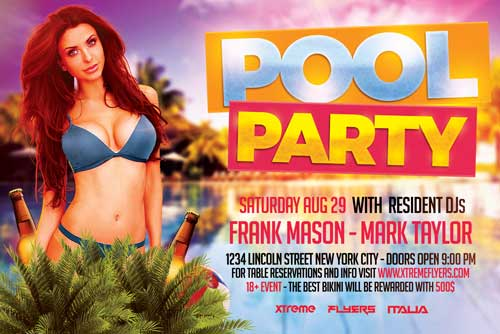 Horizontal Pool Party Flyer Template  Xtremeflyers