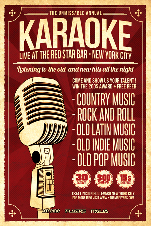 Karaoke Flyer Template Psd Download  Xtremeflyers