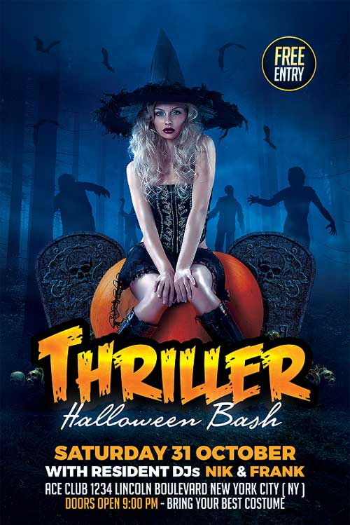 Thriller Halloween Flyer Template PSD