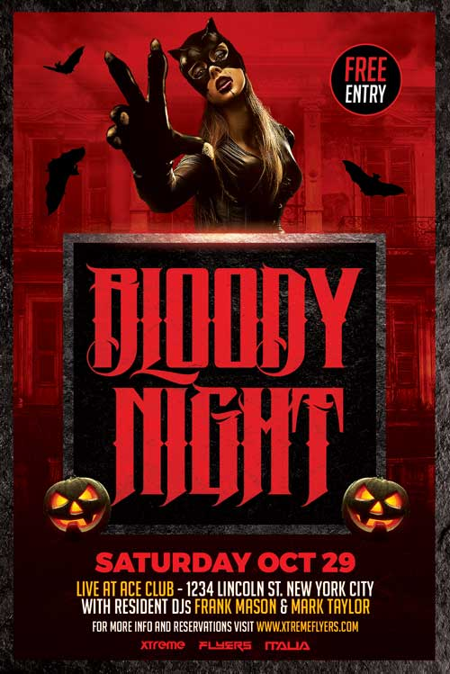 bloody night halloween flyer to download