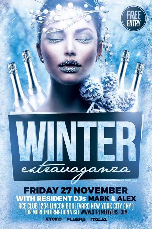 Winter Party Flyer Template Download  Xtremeflyers