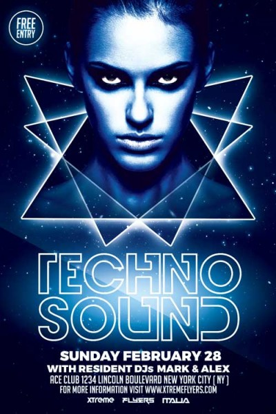 Techno Flyer Template PSD