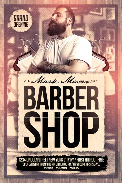 Free Barber Shop Flyer Template  Xtremeflyers