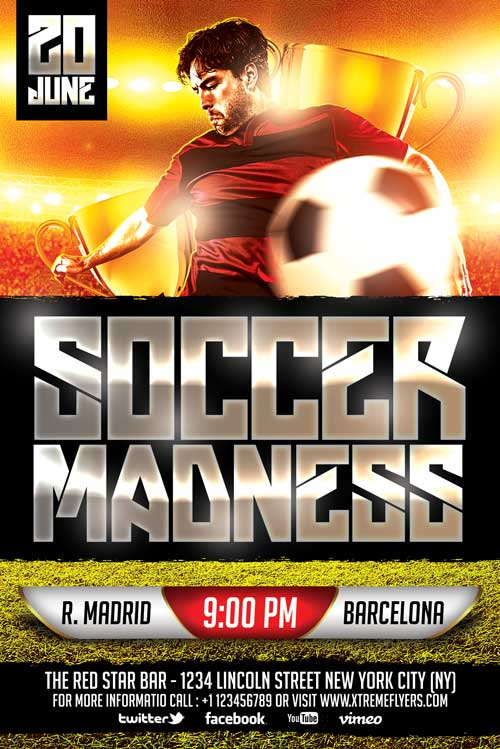 Free Soccer Flyer Template  Xtremeflyers