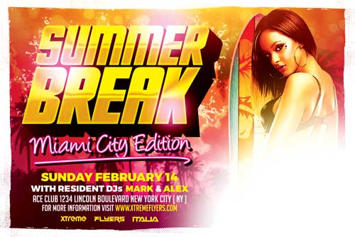 Miami Beach Party Flyer Template Psd Download  Xtremeflyers