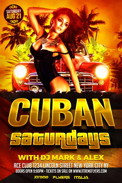 Cuban Party Flyer Template