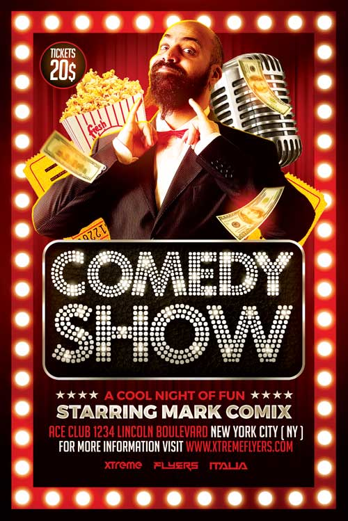 Comedy Show Flyer Template - Xtremeflyers