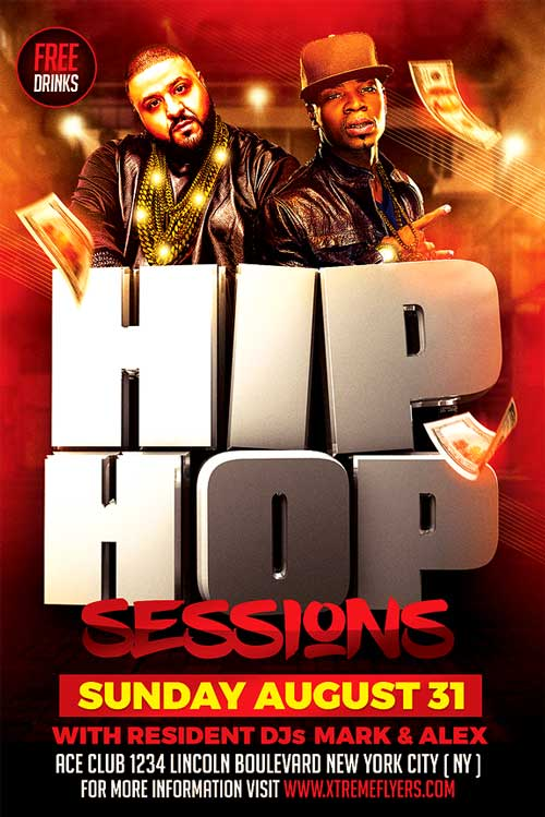 Hip Hop Sessions Flyer Template  Xtremeflyers
