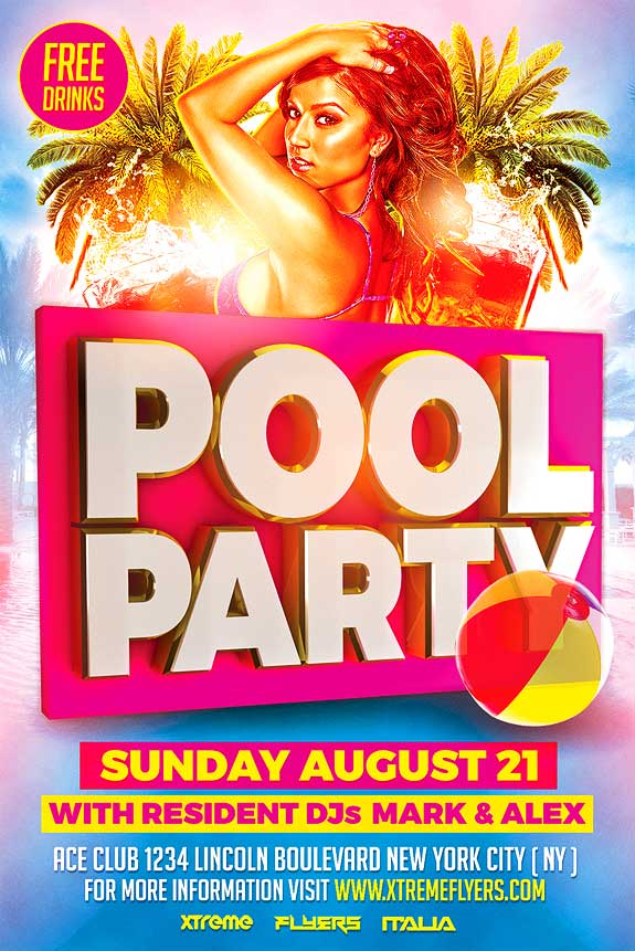 Pool Party Flyer Template - Xtremeflyers