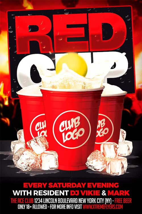 Red Cup Party Flyer Template  Xtremeflyers