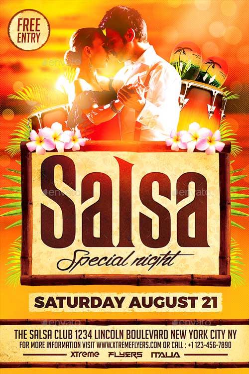 salsa flyer template psd