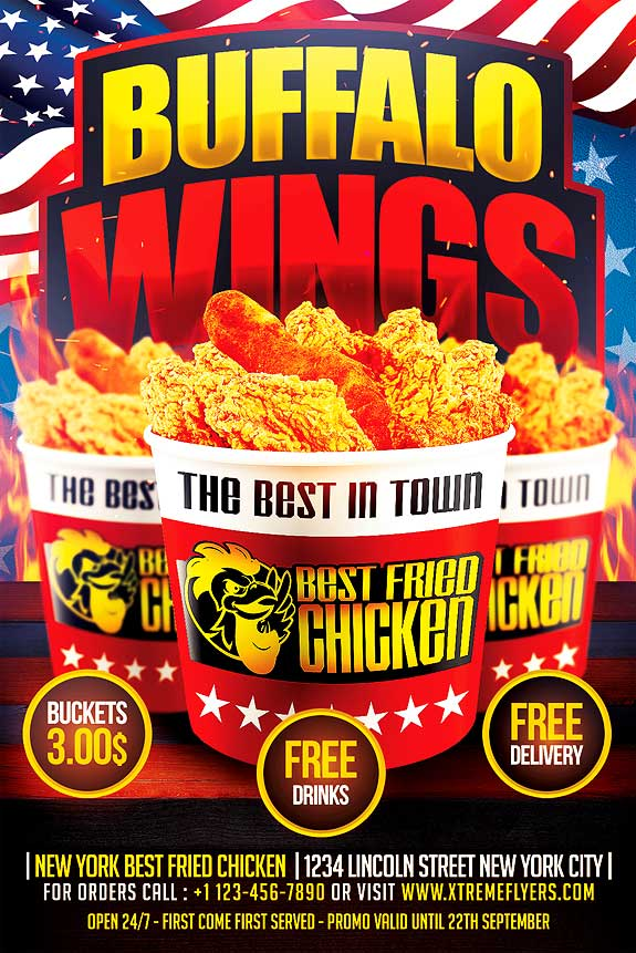 Wings Fast Food Flyer Template  Xtremeflyers