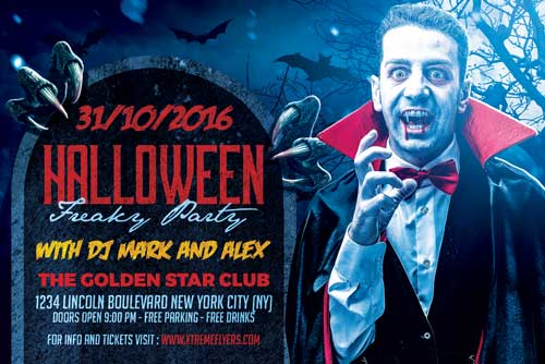 Halloween Freaky Party Flyer Template