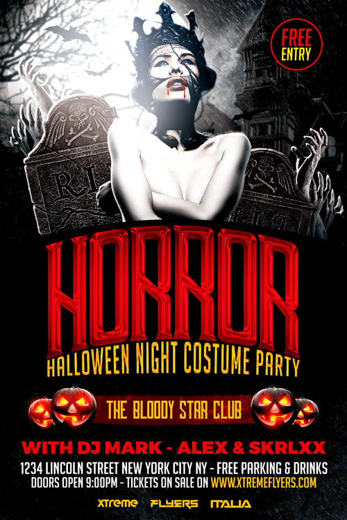 horror halloween flyer template psd xtremeflyers. Black Bedroom Furniture Sets. Home Design Ideas