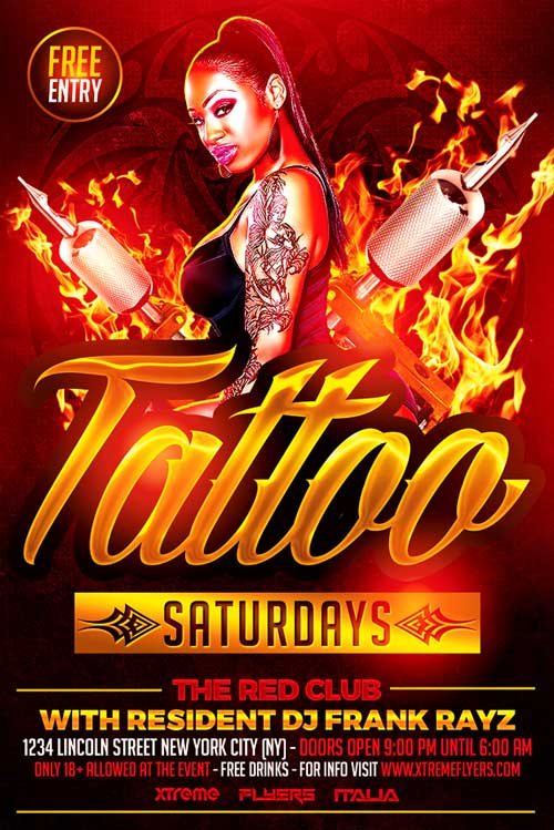 tattoo party flyer template psd download now xtremeflyers. Black Bedroom Furniture Sets. Home Design Ideas