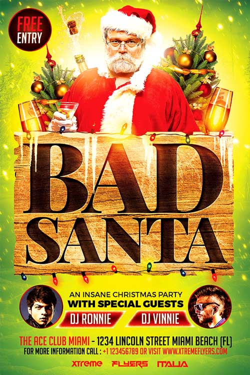 Bad Santa Xmas Flyer Template