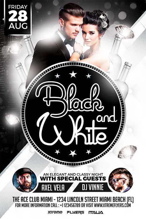 black and white party flyer template xtremeflyers. Black Bedroom Furniture Sets. Home Design Ideas