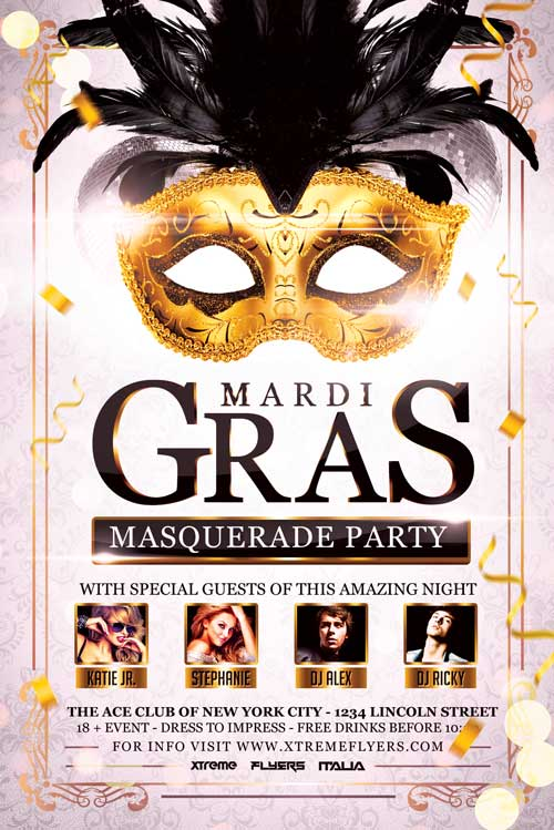 Carnival Masquerade Party Flyer Template Download  Xtremeflyers