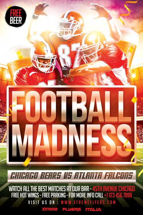 football madness flyer template psd