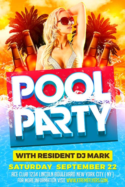 Summer Pool Party PSD Flyer Template - XtremeFlyers