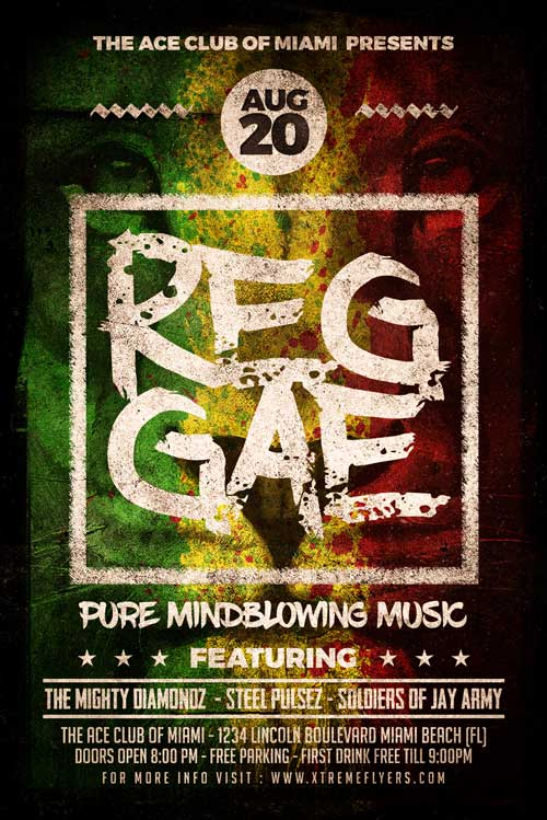 reggae flyer template psd download