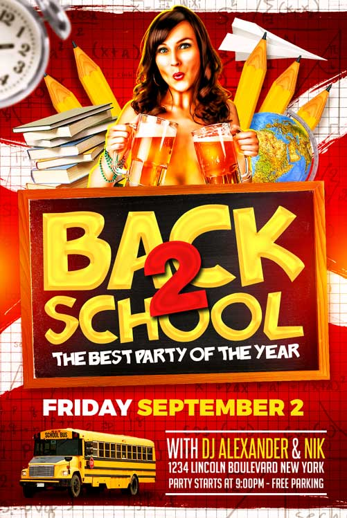 Back To School Party Flyer Template Download  Xtremeflyers