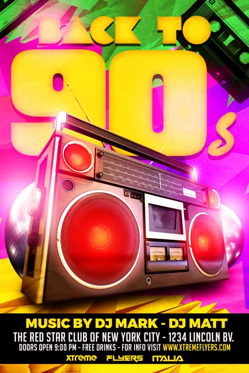 back to 90s party flyer template download