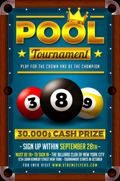 Pool Billiard Flyer Template
