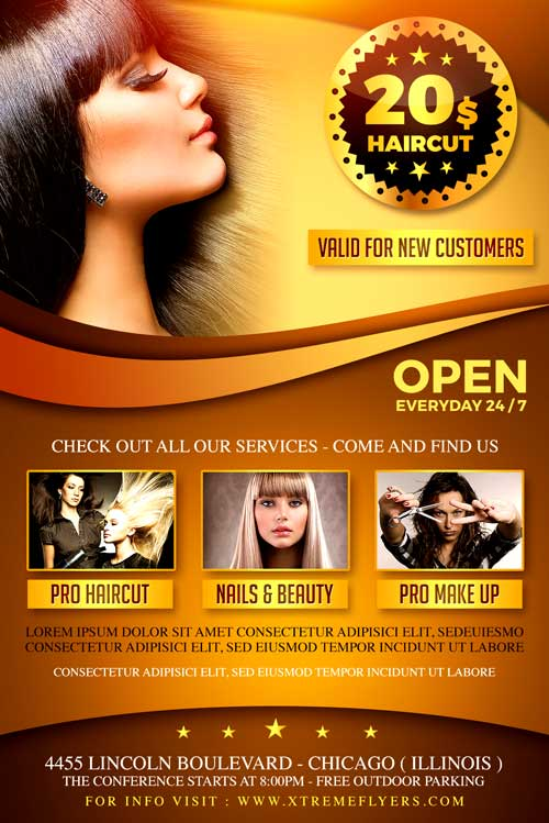 Hair Salon Flyer Template  Xtremeflyers