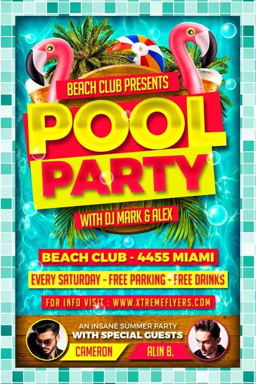 Pool Party PSD Flyer Template - XtremeFlyers