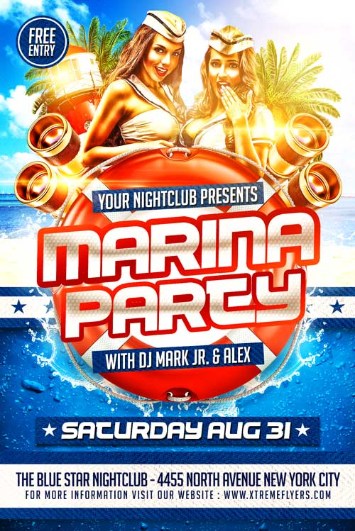 Marina Party Flyer Template