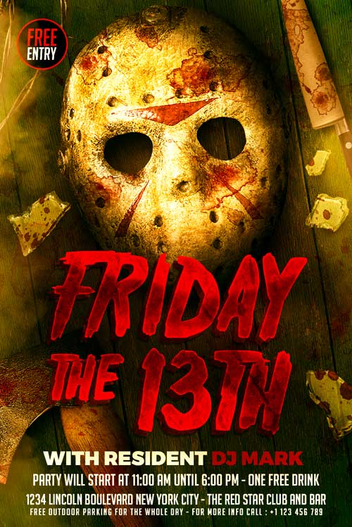 FREE Friday the 13th Flyer Template