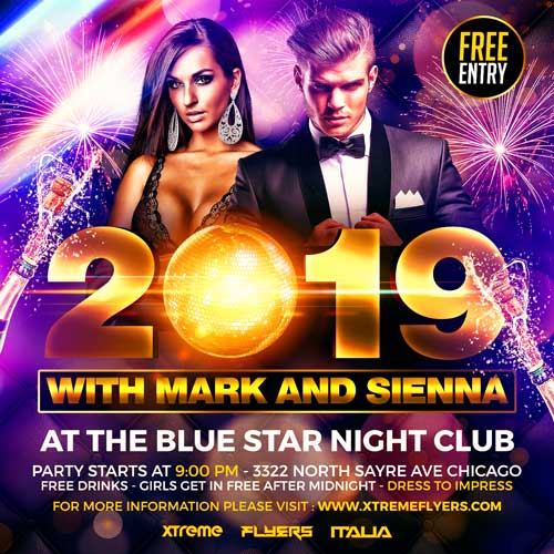 New Years Eve Square Flyer Template