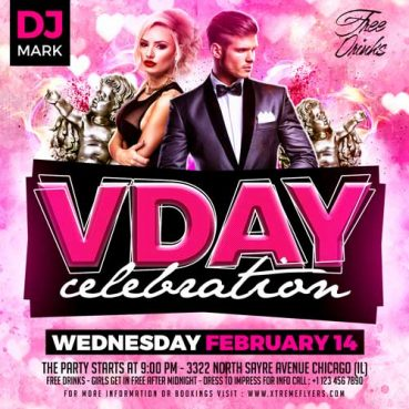 Valentines Day Square Flyer Template