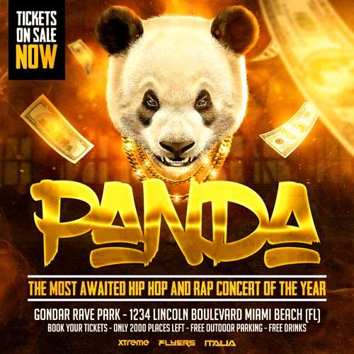 Hip Hop Panda Flyer Template