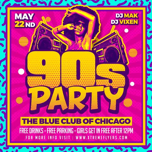 90s Party Flyer Template