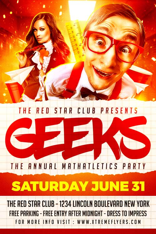 Nerds Party Flyer Template