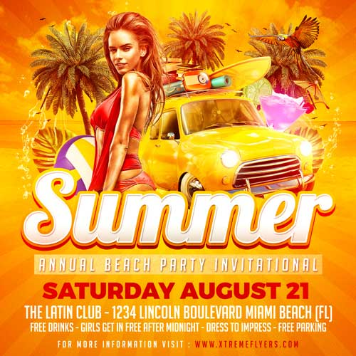 Summer Annual Beach Party Flyer Template