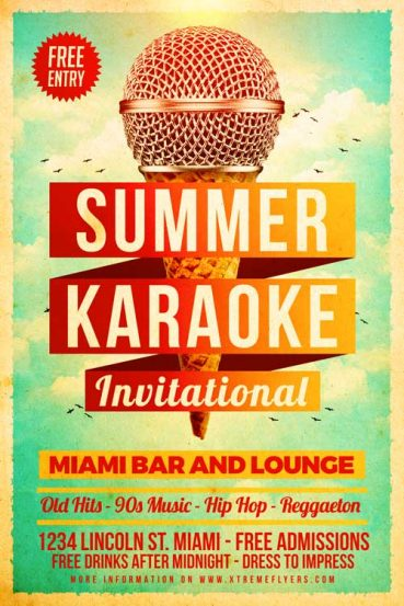 Summer Karaoke Flyer Template