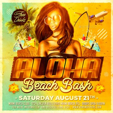 Beach Square Flyer Template