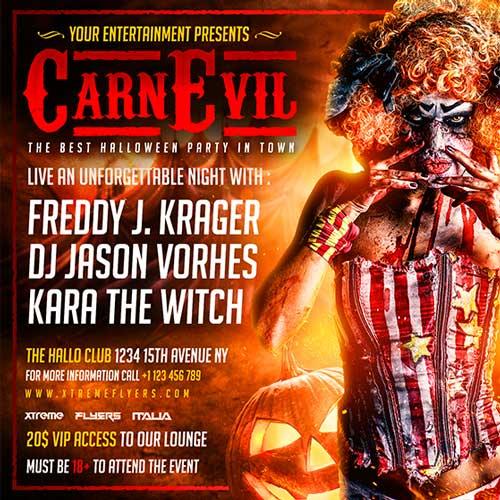 Carnevil Halloween Flyer Template