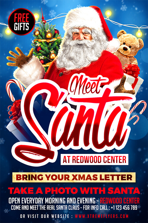 Meet Santa Christmas Flyer Template