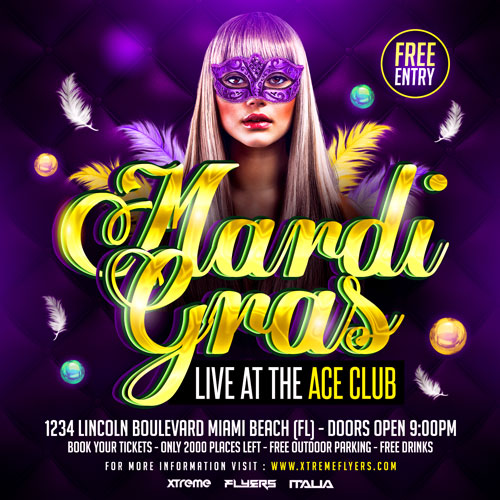 Mardi Gras Square Flyer Template