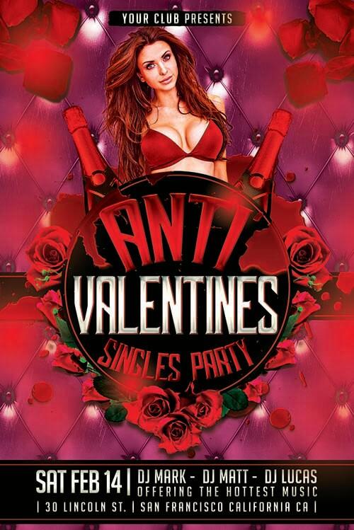 Anti Vday PSD Flyer Template